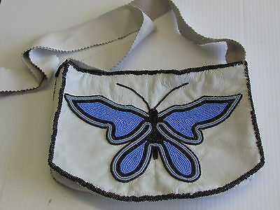 BUTTERFLY BEADS DESIGN,  LEATHER HANDBAG, WITH ZIPPERED, AMERICAN INDIAN