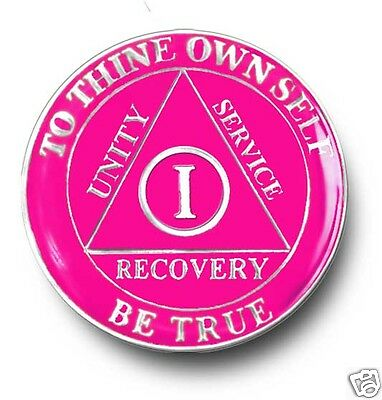 YRS 1-45 Brilliant Pink & Silver  AA Anniversary Recovery Coin/Chip/Medallion