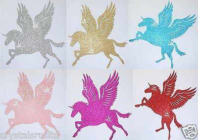 Fabric Glitter Small Unicorn Wing Horse Iron-On Diy Bling Tshirt Transfer Patch