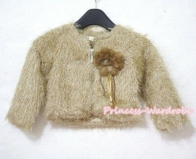 Pale Brown Kids Girl Soft Fur Outerwear Overcoat Coat with Rose Size 2-8Y PD017