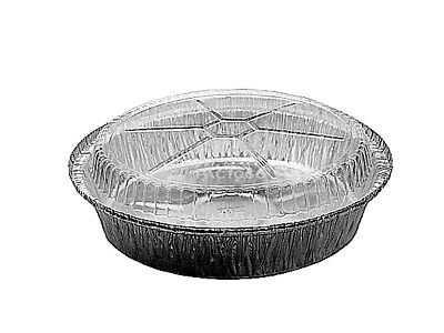 "8"" Round Aluminum Foil Take-Out/Cake Pan w/Clear Dome Lid 50 PK - Disposable"