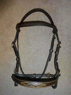 Quality Leather Brass In-Hand Showing Bridle - 2 Colours Small Pony - Full Size