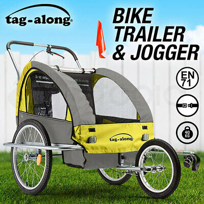NEW Tag-along  Kids Bike Trailer Bicycle Pram Stroller Children Jogger Yellow