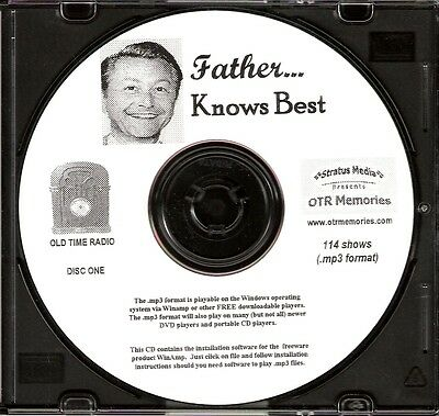 FATHER KNOWS BEST - 114 Shows Old Time Radio In MP3 Format OTR On 2 CDs