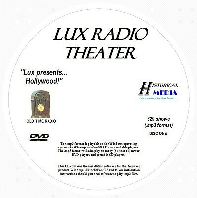 LUX RADIO THEATER - 629 Shows Old Time Radio In MP3 Format OTR On 2 DVDs