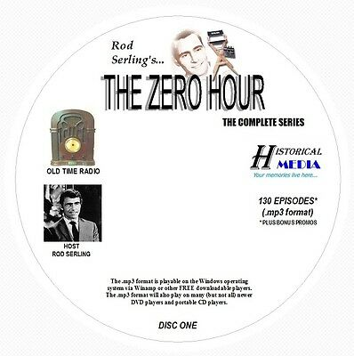 ZERO HOUR - 130 Shows Old Time Radio In MP3 Format OTR On 2 CDs   ROD SERLING