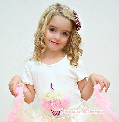 White Short Sleeve Top Shirt Cream White Light Pink Rose Birthday Cupcake 1-8Y