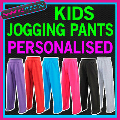 Boys Girls Kids Jogging Pants Bottoms Joggers Jog Pants  Personalised Club Logo