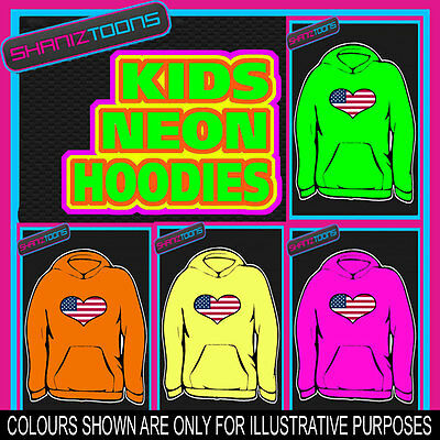 Usa United States Emblem Flag Love Heart Neon  Electric Kids Childs Hoodie Hoody