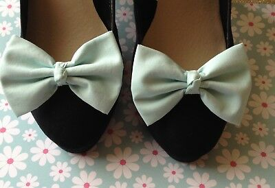 NEW PAIR PLAIN PASTEL MINT GREEN COTTON FABRIC BOW SHOE CLIPS VINTAGE 50s STYLE