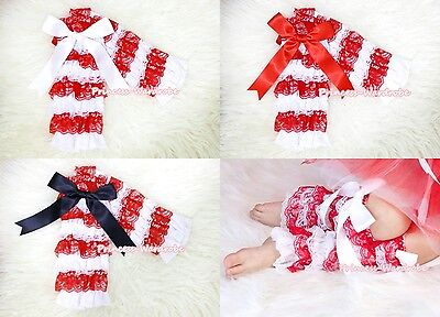 Xmas Baby Girl Red White Stripe Lace Leg Warmer Stocking for Pettiskirt 2-6Year