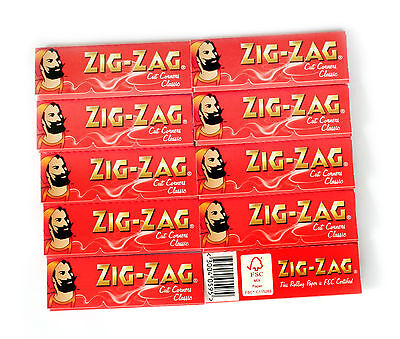 10 booklets rolling paper ZIG-ZAG RED Cut Corners = total 600 papers