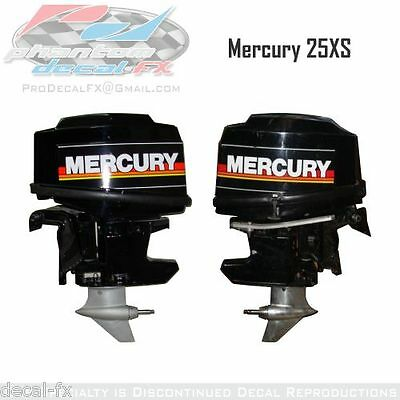 25XS Mercury Marine Racing Motor 25hp Outboard Reproduction Decal Set 4 Pc