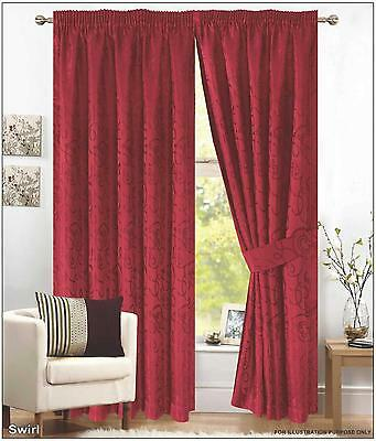 Pair Of Red Pencil Pleat - Fully Lined Jacquard Swirl Curtains + Tie Backs