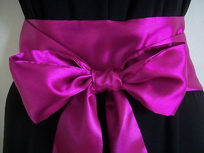 "3.5""X60"" DARK CERISE SATIN SASH BOW BELT for PARTY PROM DRESS BRIDAL SELF TIE"