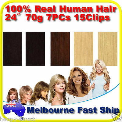 """Clip in REMY Real Human Hair Extensions 24"""" 70g Full Head on Black Brown Blonde"""