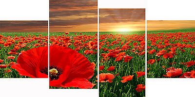 4 Piece Panel Set Wall Art Canvas Pictures New Sunset Poppies Home Decor Prints