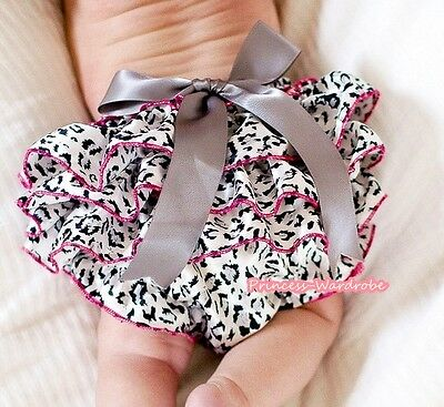 Newborn Baby GREY LEOPARD Bloomers Pantie Optional Bow For Girl Pettiskirt 6m-3Y