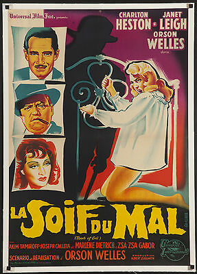 """TOUCH OF EVIL 1958 first release 23x31"""" French film poster on linen Orson Welles"""