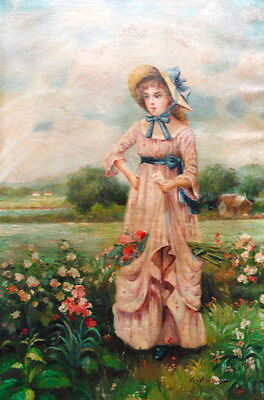 "24""x36"" Stretched Canvas Hand Painted Oil Painting -Girl in the Garden"