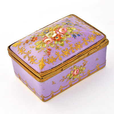 Antique 19th C. French Porcelain Hand Painted & Gilded Lovely Jewelry Vanity Box