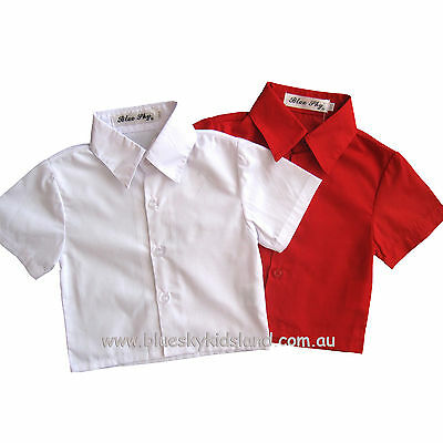 NWT Boys Short Sleeve Shirt Kids Formal 100% Cotton sz000 – 16 in White-Red-Blue
