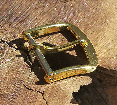 Round corner type vintage yellow gold-plated watch buckle 14mm opening 1950s/60s