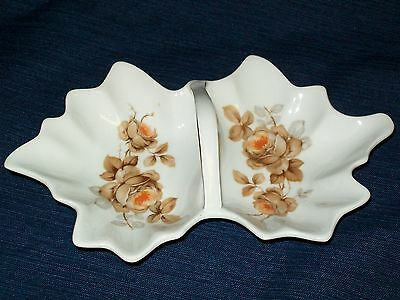 "Vintage 8.75""L Mittereich Bavaria CANDY or CONDIMENTS DISH Germany Autumn Leaf"