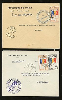CHAD BONGOR + BOL 1971 FLAGS OFFICIALS 2 COVERS to FORT LAMY...25F + 25F + 5F