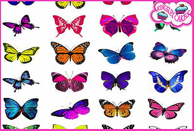 24 x VIVID MIXED BUTTERFLY EDIBLE CUPCAKE TOPPER RICE WAFER PAPER M5