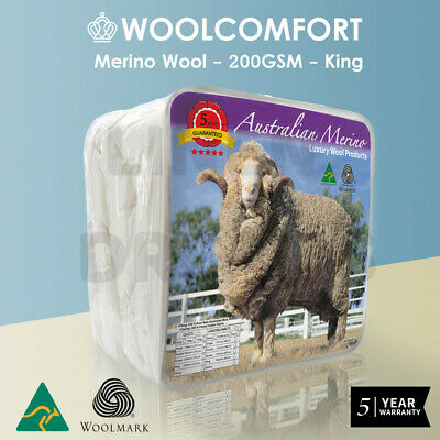King Size AUS MADE 100% Merino Wool Summer Quilt 200 GSM Doona Duvet Blanket