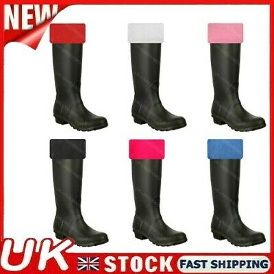 Ladies Plain Wellington Boot Fleece Socks Welly Liners Festival Adults Wellies