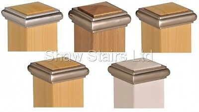 Axxy Solo Stair Post Caps, Full / Half, Chrome / Brushed, Pine / Oak / White