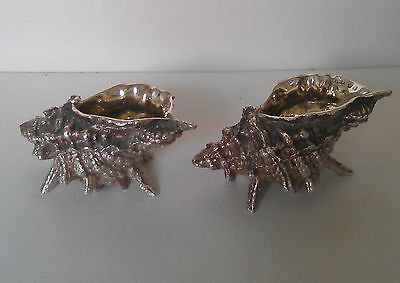 Pair Unusual Sterling Silver Conch  Gilt Great Gift