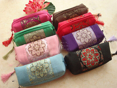 Wholesale 10PCS Chinese Handmade silk mix-colour Cosmetics Purse /pouch /Wallet