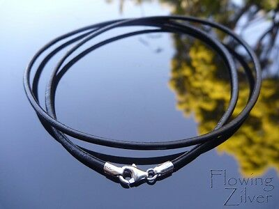 """925 Sterling Silver & Leather Cord Necklace Choker 2mm 20"""" 50cm Lobster Clasp"""