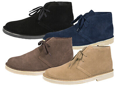 Mens Boys Full Suede Leather Lace Up Desert Boots Ankle Desert Shoes Size 6 -11