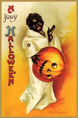 A JOLLY HALLOWEEN PARTY BOY GHOST PUMPKIN MASK OLD CARD VINTAGE POSTER REPRO