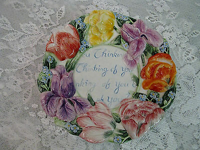Fitz and Floyd THINKING OF YOU Decorative Plate Springtime Flowers Vivid Colors