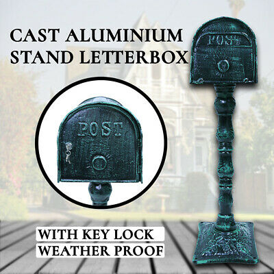 Mailbox Cast Aluminium Letterbox with Key Lock, Mail, Stand Antique Letter Post