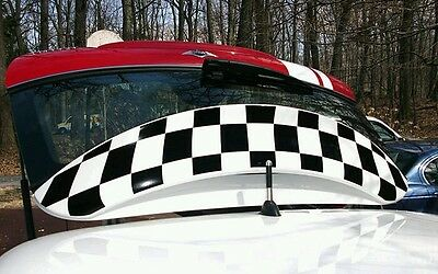 Mini Cooper Checkerboard Finish Line Spoiler Decal Racing Graphics
