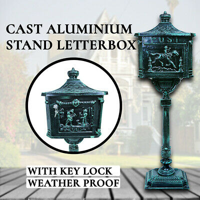 Mailbox Castle,Cast Aluminium Letterbox with Key Lock, Mail,Stand Antique Letter