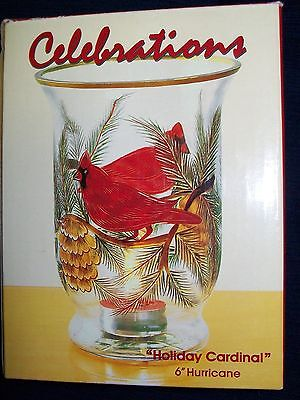"6"" glass Christmas Celebrations ""HOLIDAY CARDINAL"" Votive CANDLE HOLDER w/Box"