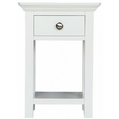 Reims White Painted Furniture 1 Drawer Open Bedside Cabinet Table Pair