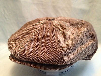 MENS BROWN HERRINGBONE 2 TONE BAKER BOY CAP NEWSBOY 8-PANEL HAT 1920's STYLE