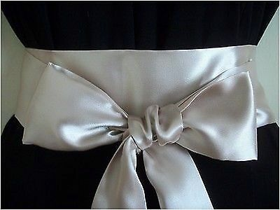 "2.5x100"" CHAMPAGNE SATIN SASH BELT SELF TIE BOW-BRIDE WEDDING PARTY PROM DRESS"