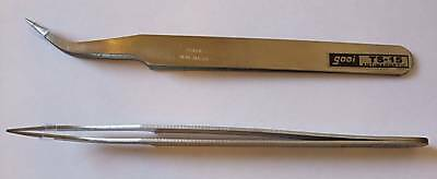Stainless steel Anti-magnetic TWEEZER CURVED bead craft card making pickup