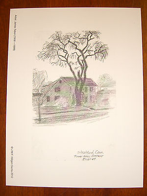 Town Hall District, Stratford,CT;5/6/47 Vintage Sketch by James Tabor-Lithograph
