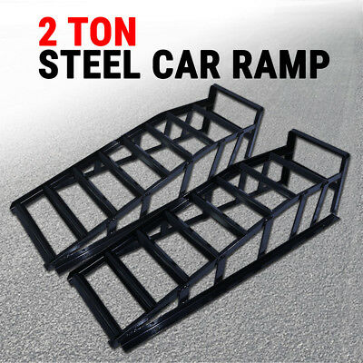 Car Ramp x2, Lifts Loading 2 Ton Vehicle Ramps Pair Heavy Duty Steel 2000 kg