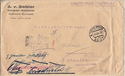 Estonia, Tartu Railway Sation R-letter to Germany 1920